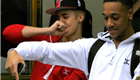 Justin Bieber and a friend dance their way out of his hotel and all the way onto his tour bus in Sweden  148136
