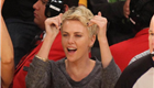 Charlize Theron at the Lakers game after Kobe Bryant injury 146762