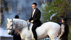 Colin Farrell rides a horse on set in Brooklyn 132723