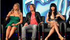 Mariah Carey, Keith Urban and Nicki Minaj of 'American Idol' speak onstage during the FOX portion of the 2013 Winter TCA Tour 136030