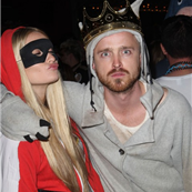 Aaron Paul and fiancé at Maroon 5 Halloween party 131013