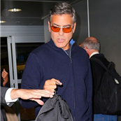 George Clooney and Stacy Keibler arrive in NYC 128722