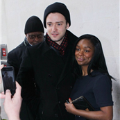 Justin Timberlake poses with fans at BBC Radio 1  140933