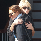 Lindsay Lohan hugs her mother after their big blowout last night 128959