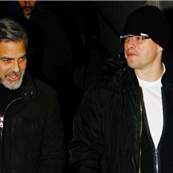Matt Damon and George Clooney leaving Grill Royal in Berlin 139143