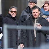 George Clooney and Matt Damon on the set of The Monuments Men in Berlin  144824
