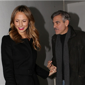 George Clooney and Stacy Keibler leaving Grill Royal restaurant in Berlin 144402