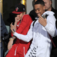 Justin Bieber and a friend dance their way out of his hotel and all the way onto his tour bus in Sweden  148138