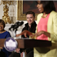 MIchelle Obama speaks as Justin Timberlake, Sam Moore, Mavis Staples, Charlie Musselwhite, and Ben Harper listen at the White House 146345
