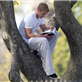 Kellan Lutz climbs a tree to read his book 129583